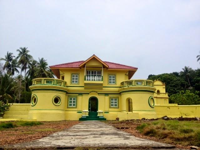the bright yellow roayl palace of Raja Ali on Penyengat Island, Indonesia