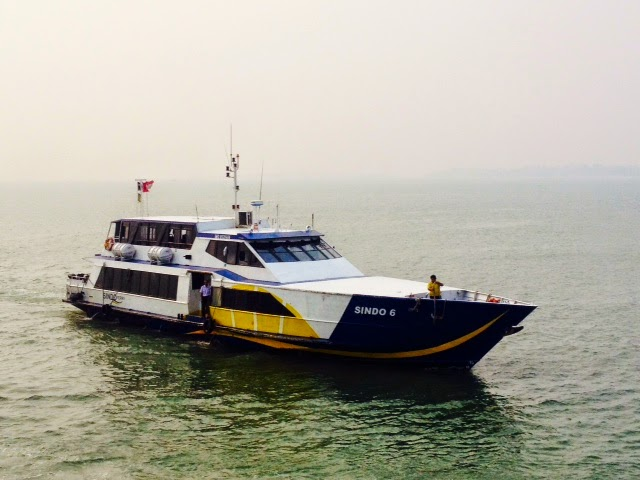 a Sindo ferry sails from Singapore to Indonesia