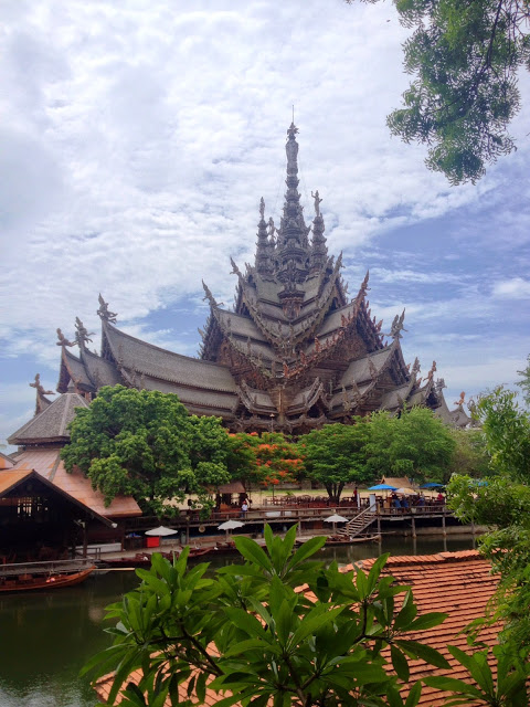 the sanctuary of truth, a large wooden temple on a beach in Pattaya, Thailand