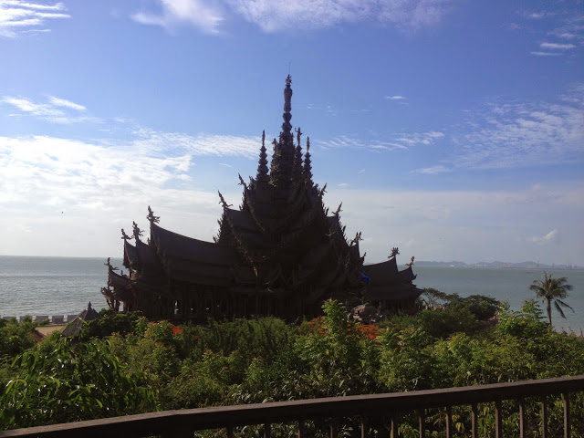 wooden temple on the beach in Pattaya, Thailand