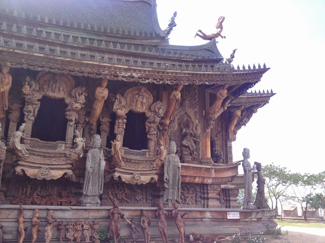 hand-carved wooden temple on the beach in Pattaya, Thailand