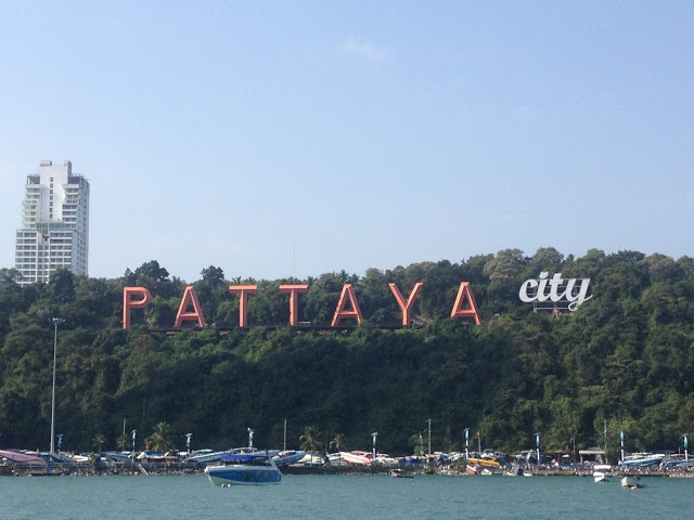 Pattaya City sign looking over the bay in Thailand