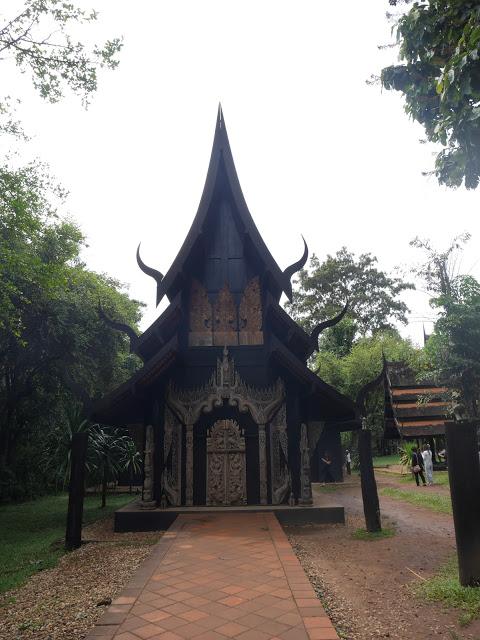 sharp black wooden building creepy chiang rai thailand black house baan dam