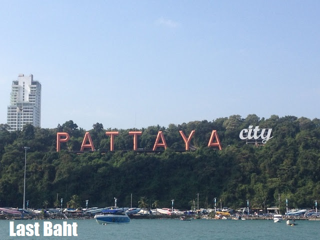 Pattaya City sign over the bay in Thailand