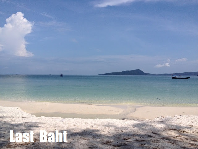 a beautiful white sand beach and clear waters on Koh Rong Island, Cambodia