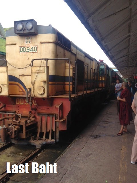 an old train waiting at the station in Yangon, Burma (Myanmar)