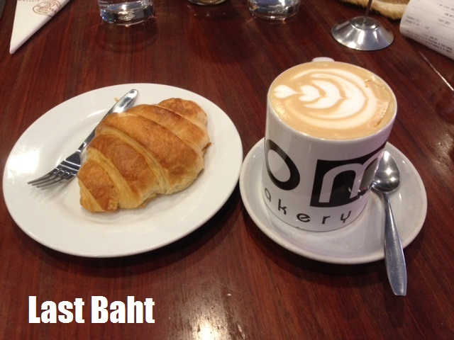 coffee and croissant from Joma Bakery Cafe in Vientiane, Laos