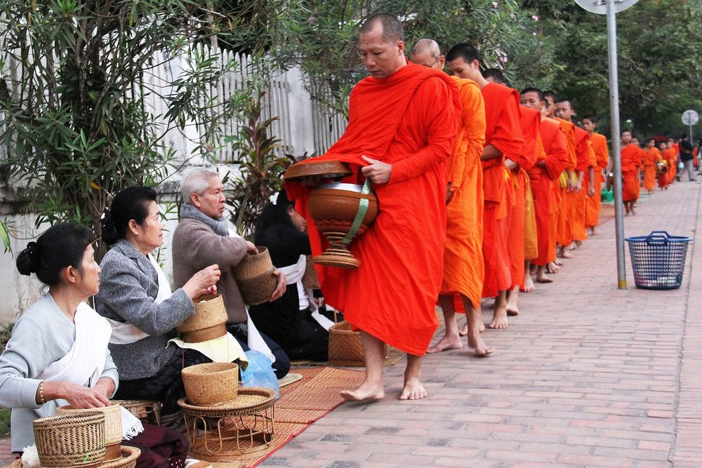 Monks on their daily alms round