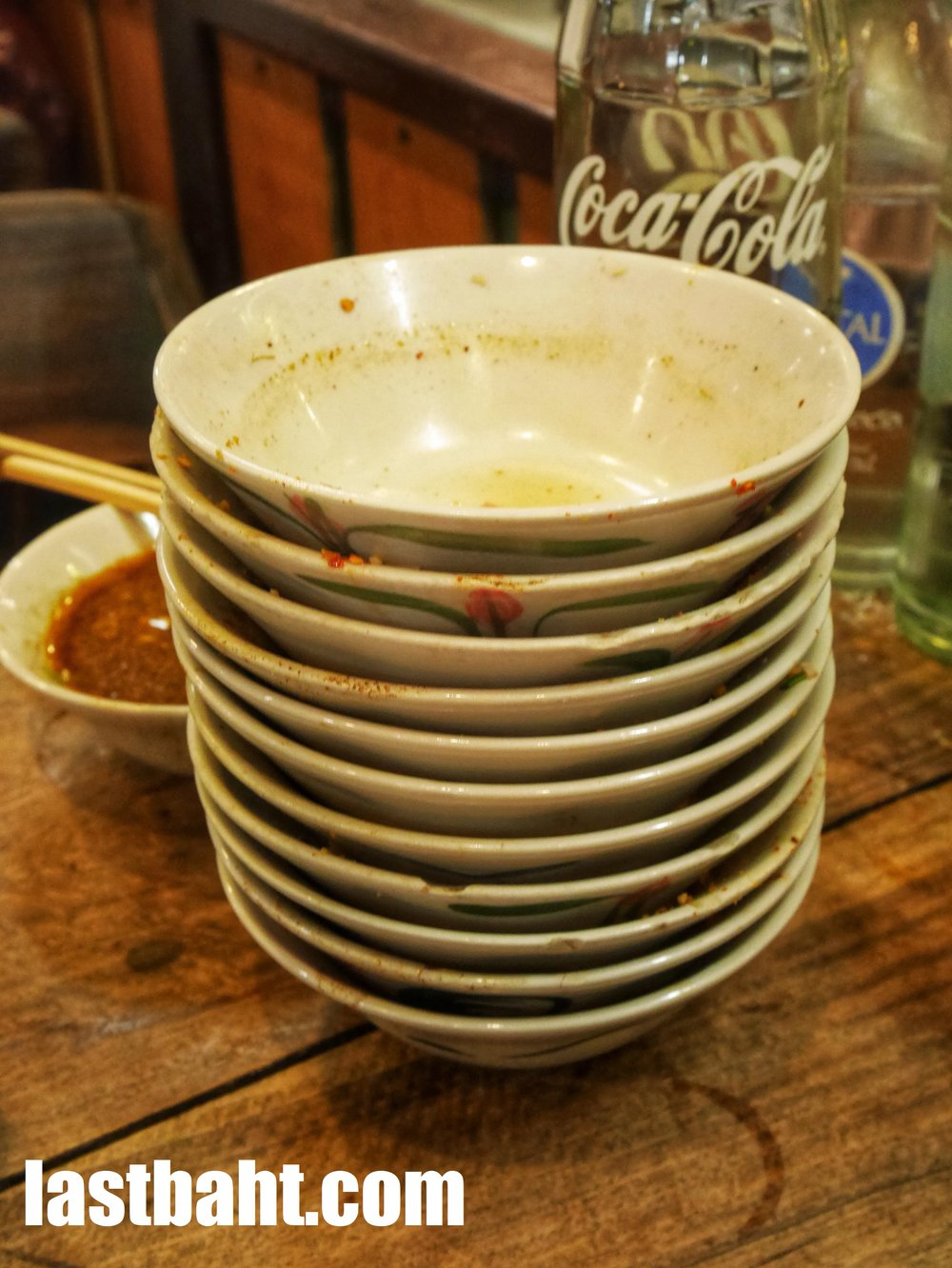 empty bowls of boat noodles