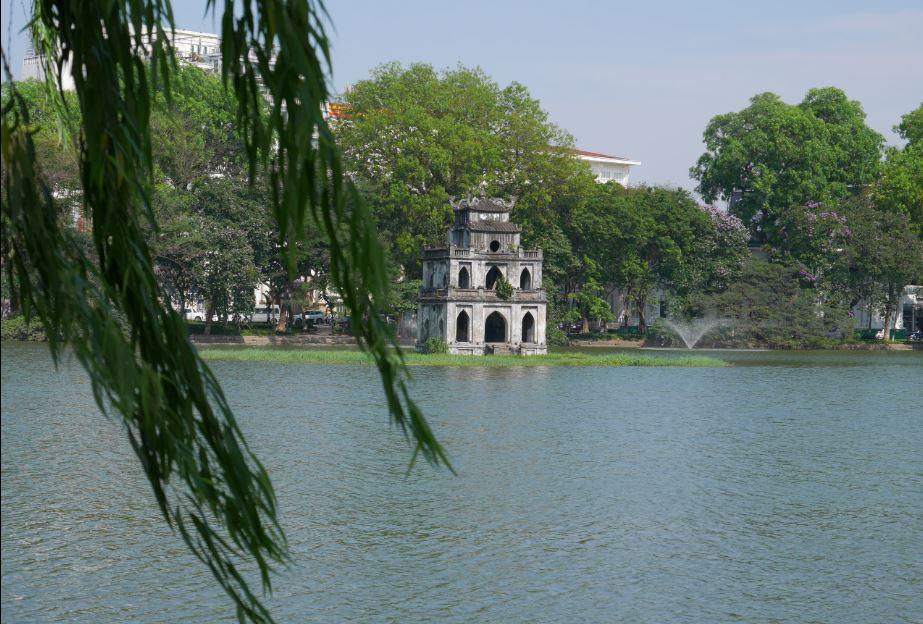 The legendary Turtle Tower on Hoan Kiem Lake