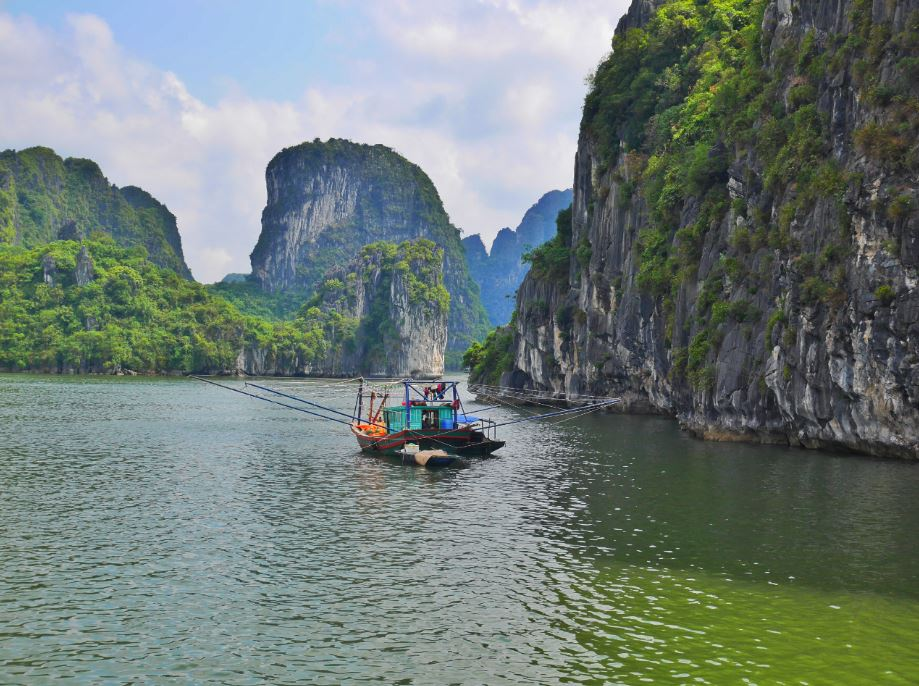 a fishing boat in Ha Long Bay