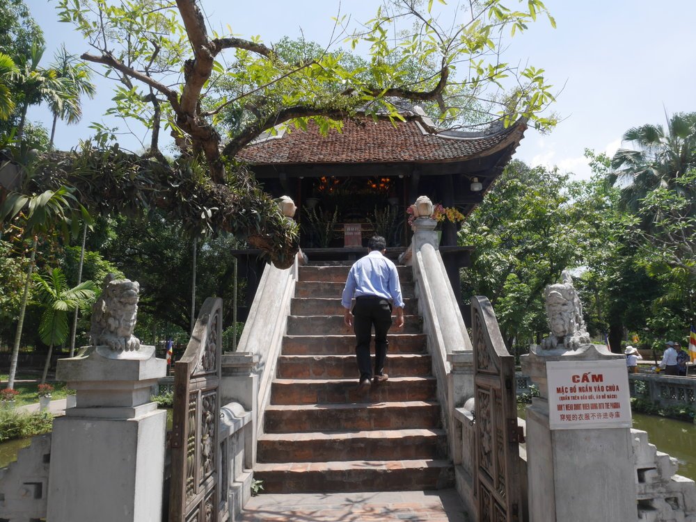 climbing the steps to the pagoda