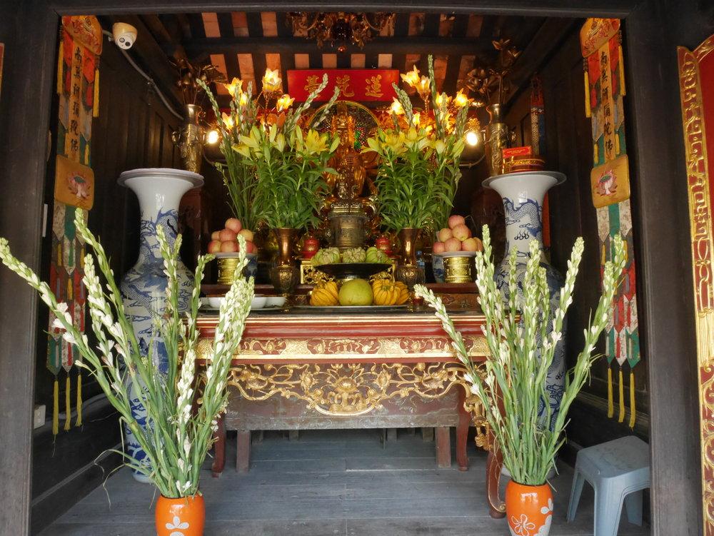 shrine inside the One Pillar Pagoda