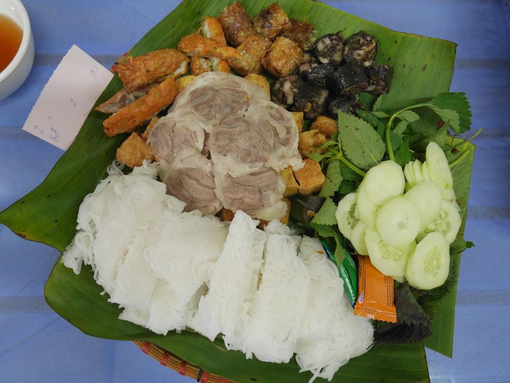 Bún Đậu Việt  or Vietnamese mixed platter: Best fried tofu