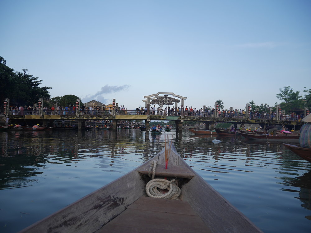 Boating in Hoi An river in evening