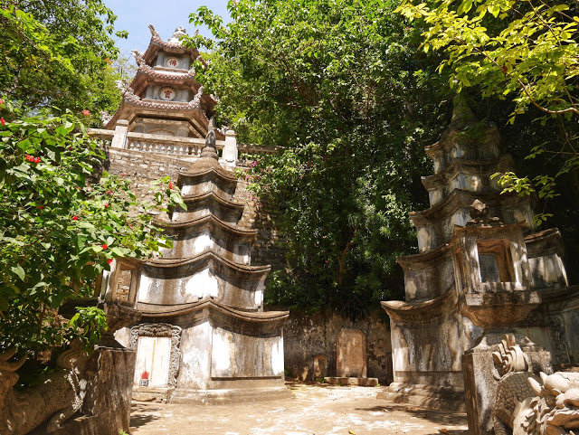 a stone pagoda halfway up the Marble Mountains