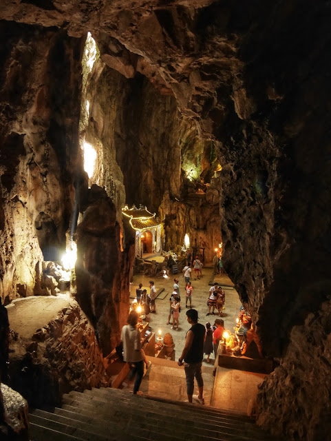 one of the many caves at the Marble Mountains