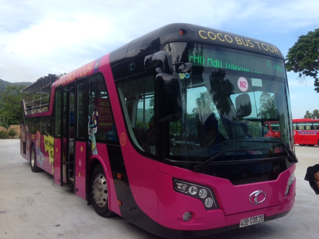 the pink Coco Bus in Da Nang, Vietnam