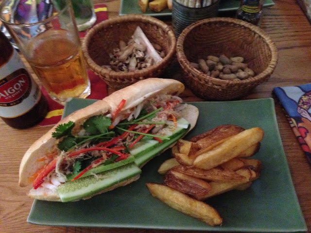 Banh mi sandwich for lunch at the Propaganda Bistro in Saigon (HCMC)