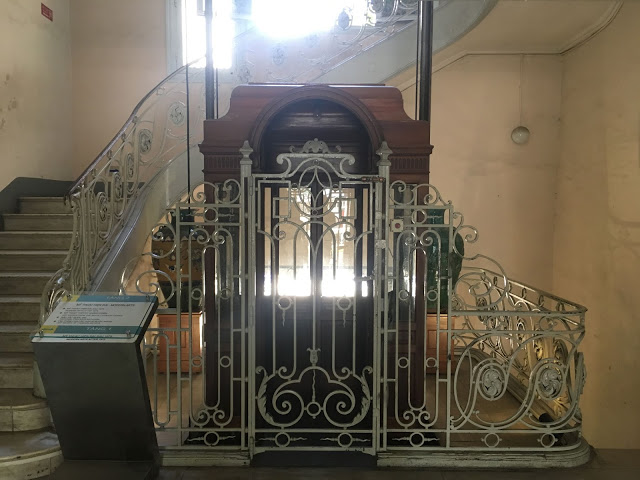 an antique elevator in the old mansion