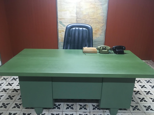 desk of the South Vietnamese President in the underground bunker at the palace