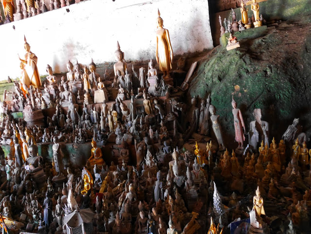 thousands of Buddha statues at Pak Ou Caves