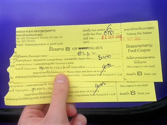 a VIP Bus ticket from Luang Prabang to Vientiane, Laos