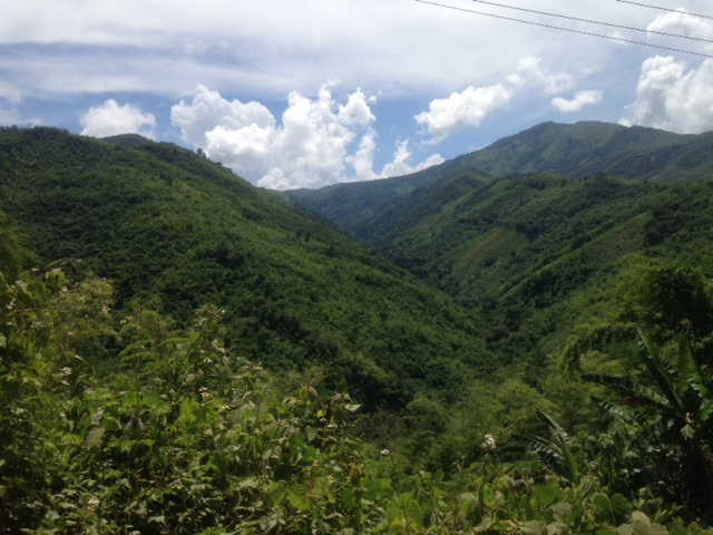 the mountains in Laos between Luang Prabang and Vientiane