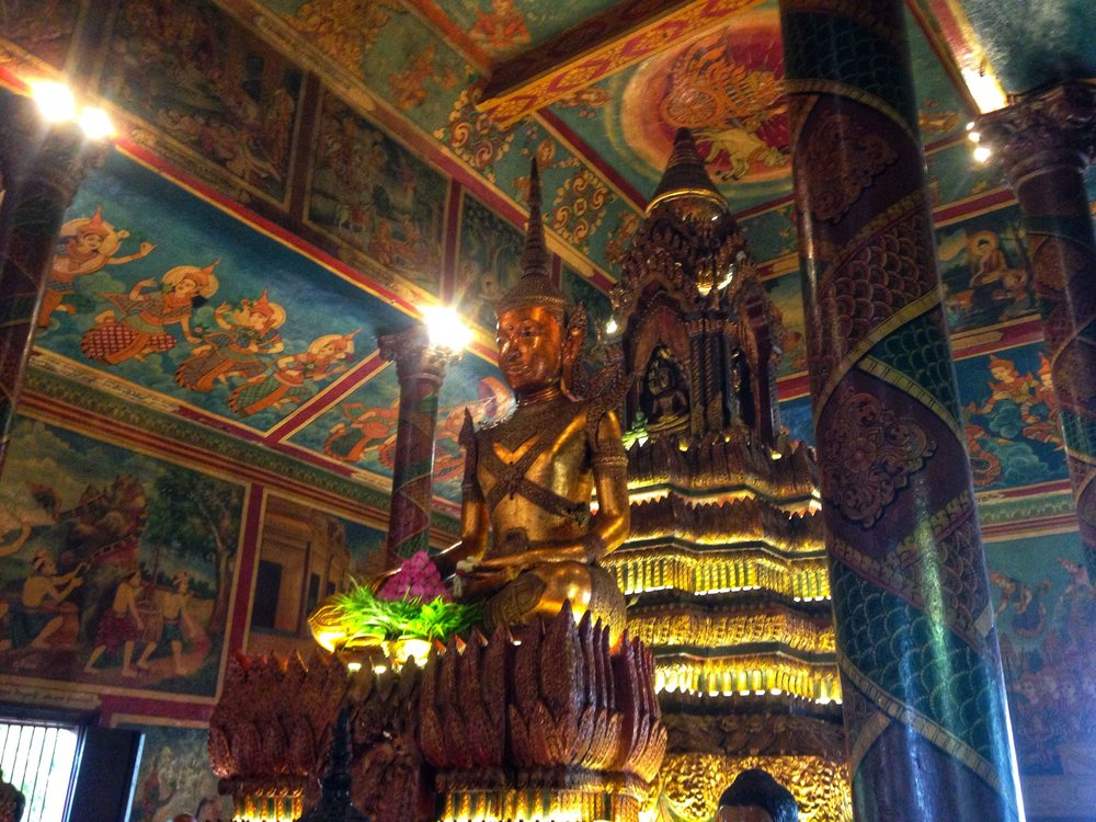 The interior of Wat Phnom Temple in Phnom Penh, Cambodia.