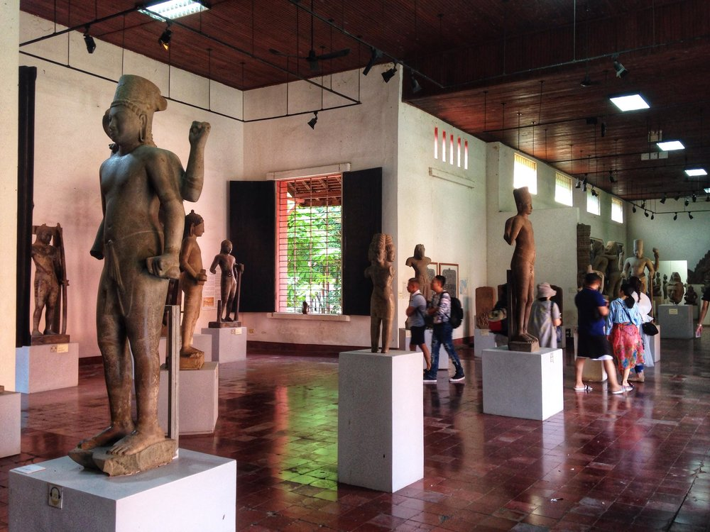 art and artifacts inside the National Museum of Cambodia