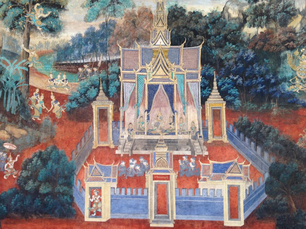 Murals at the Royal Palace depicting scenes from Cambodian history and legends.