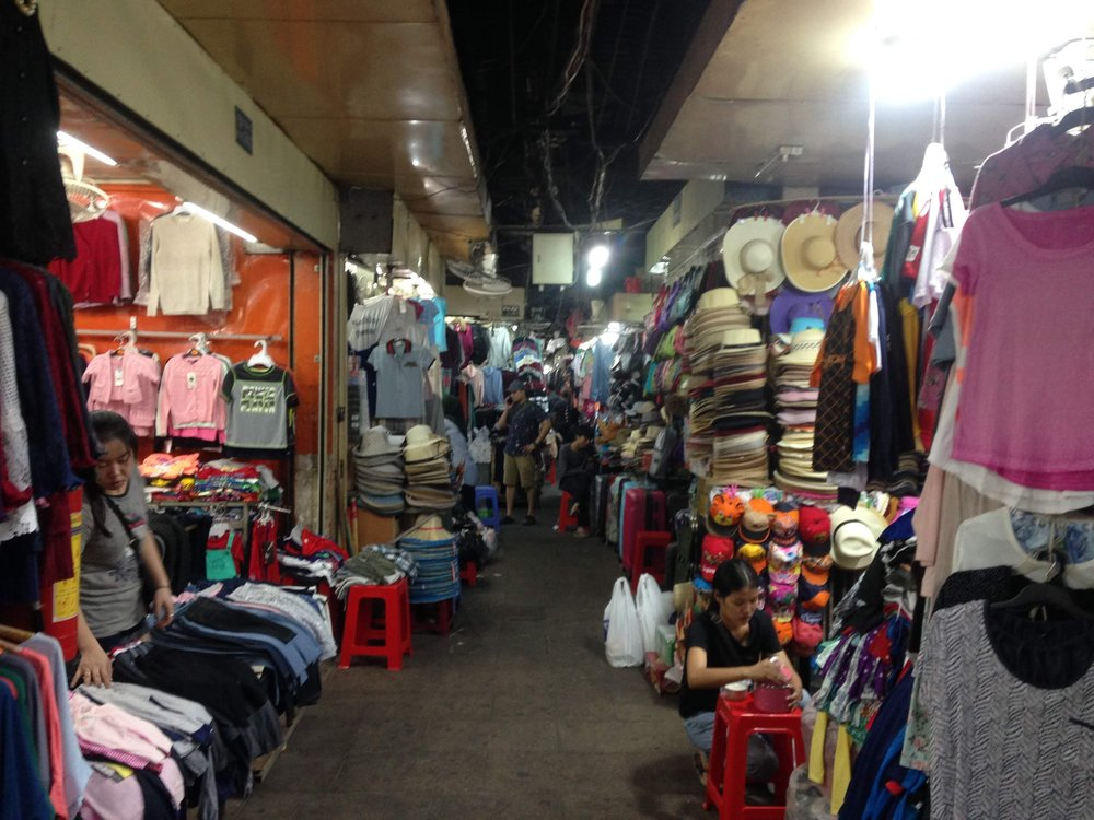shopping for cheap clothes and souvenirs at the Russian Market in Phnom Penh, Cambodia