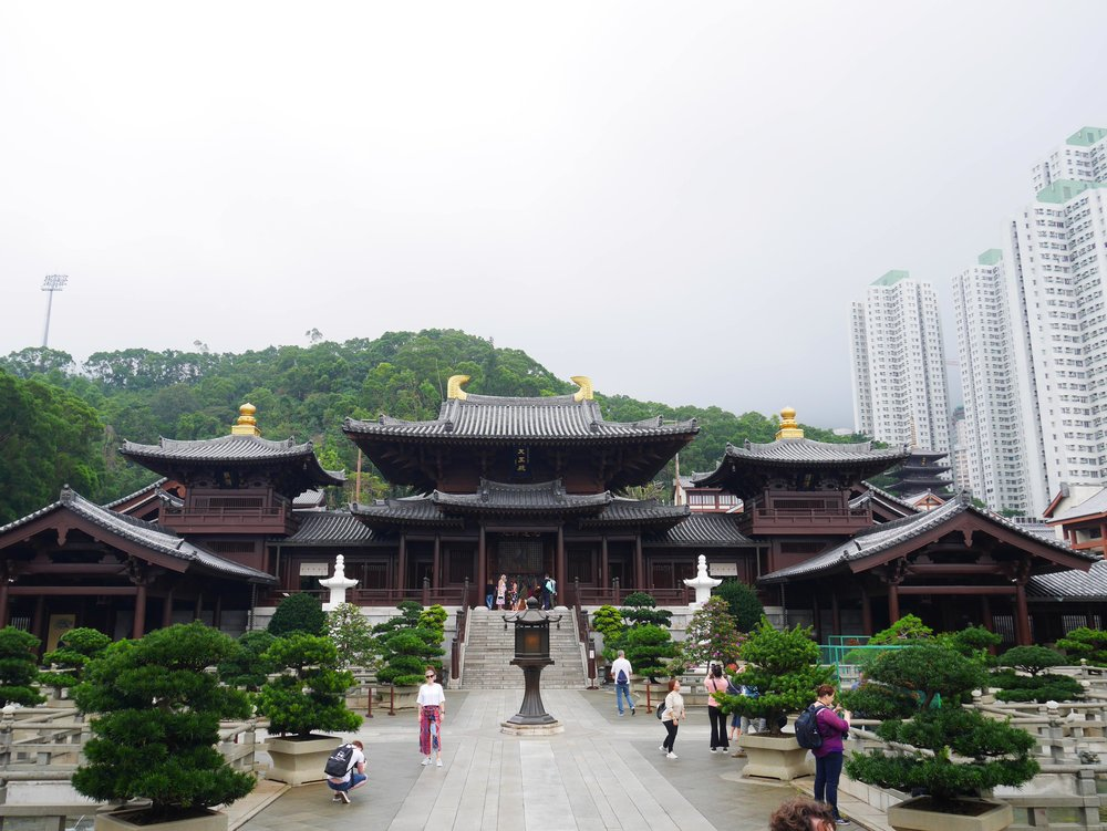 The Maitreya Hall at Chi Lin Nunnery in Hong Kong, built in the style of the Tang Dynasty.