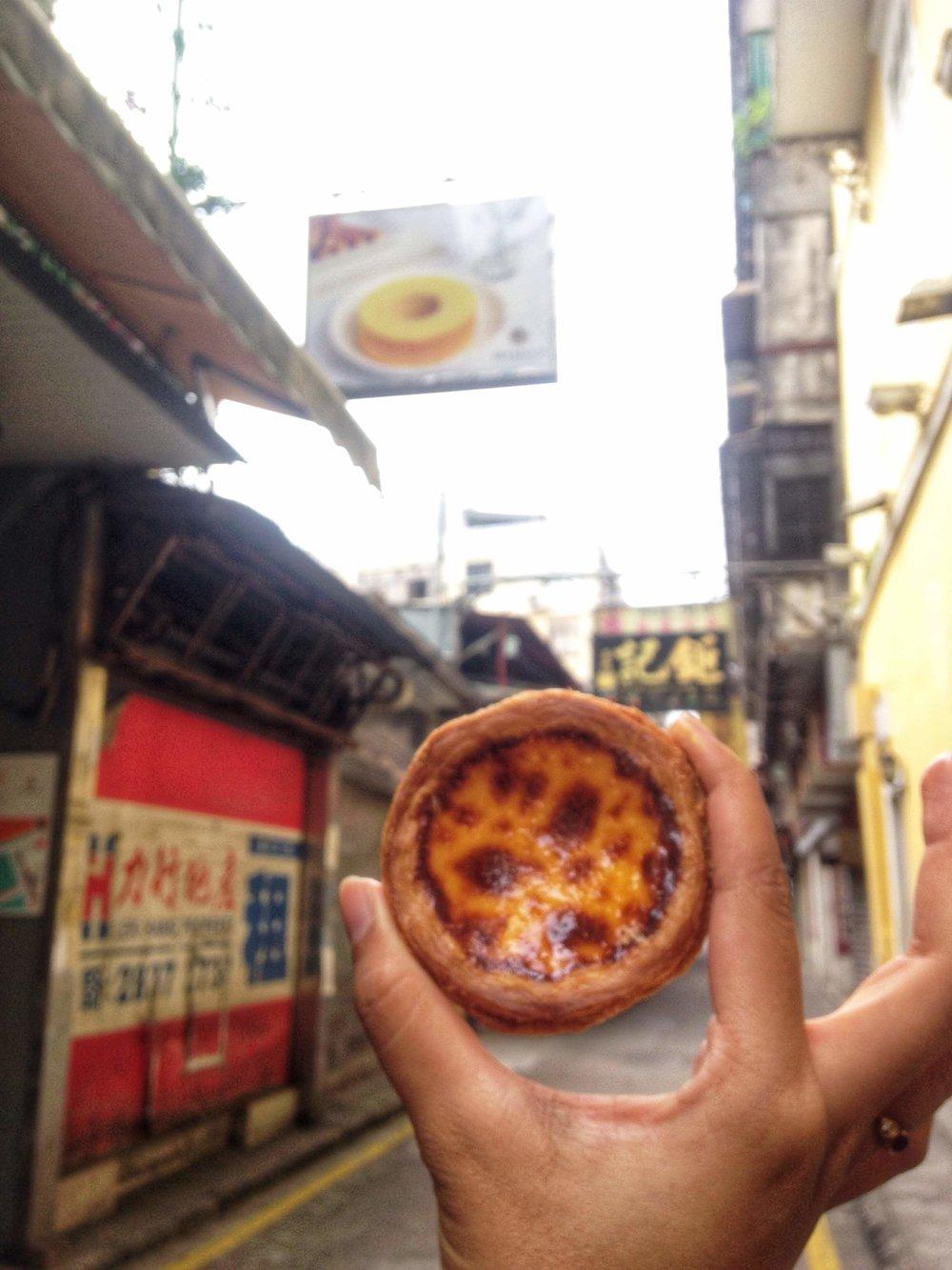 An egg tart in Macau