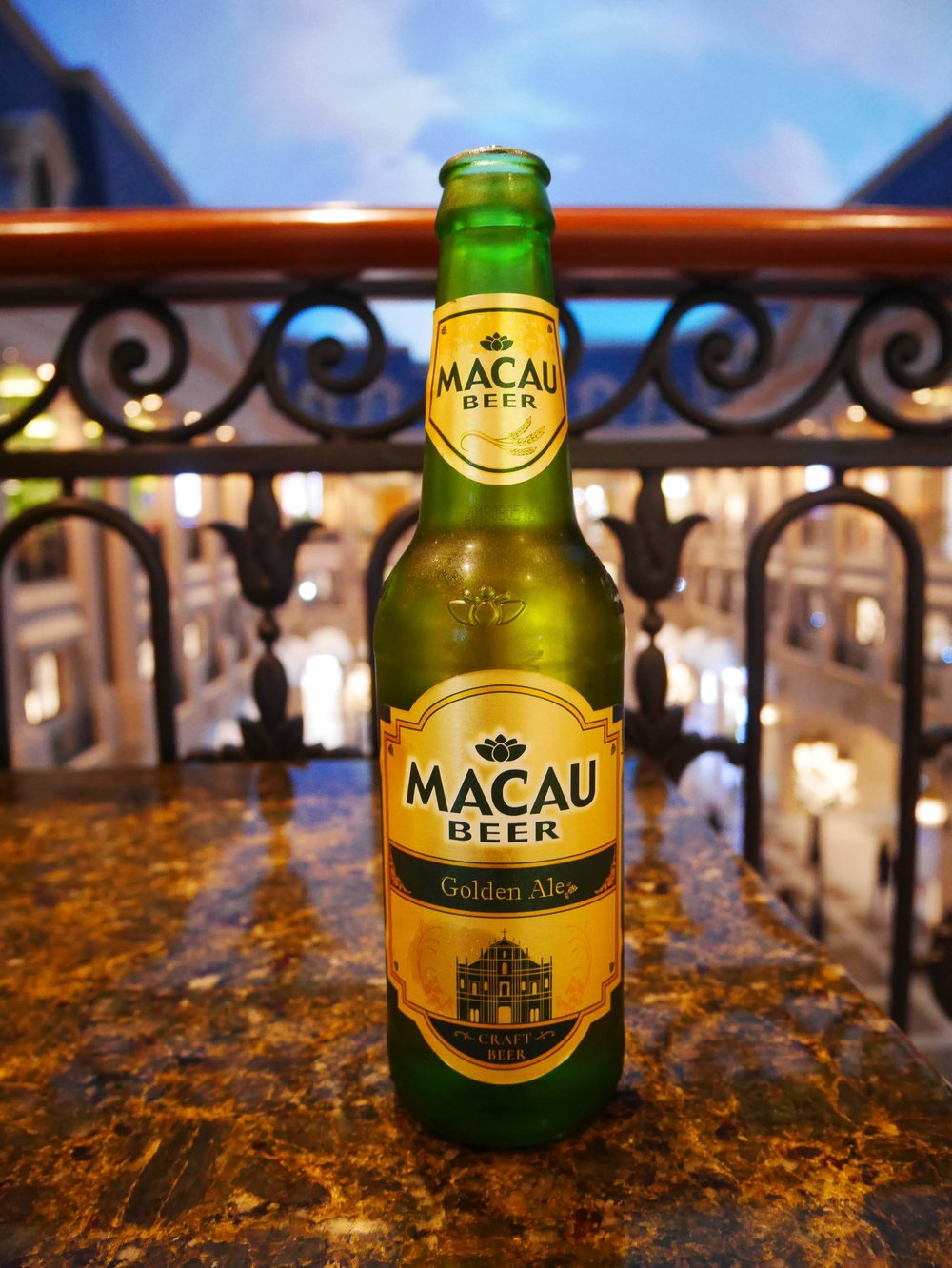 A bottle of Macau Beer Golden Ale