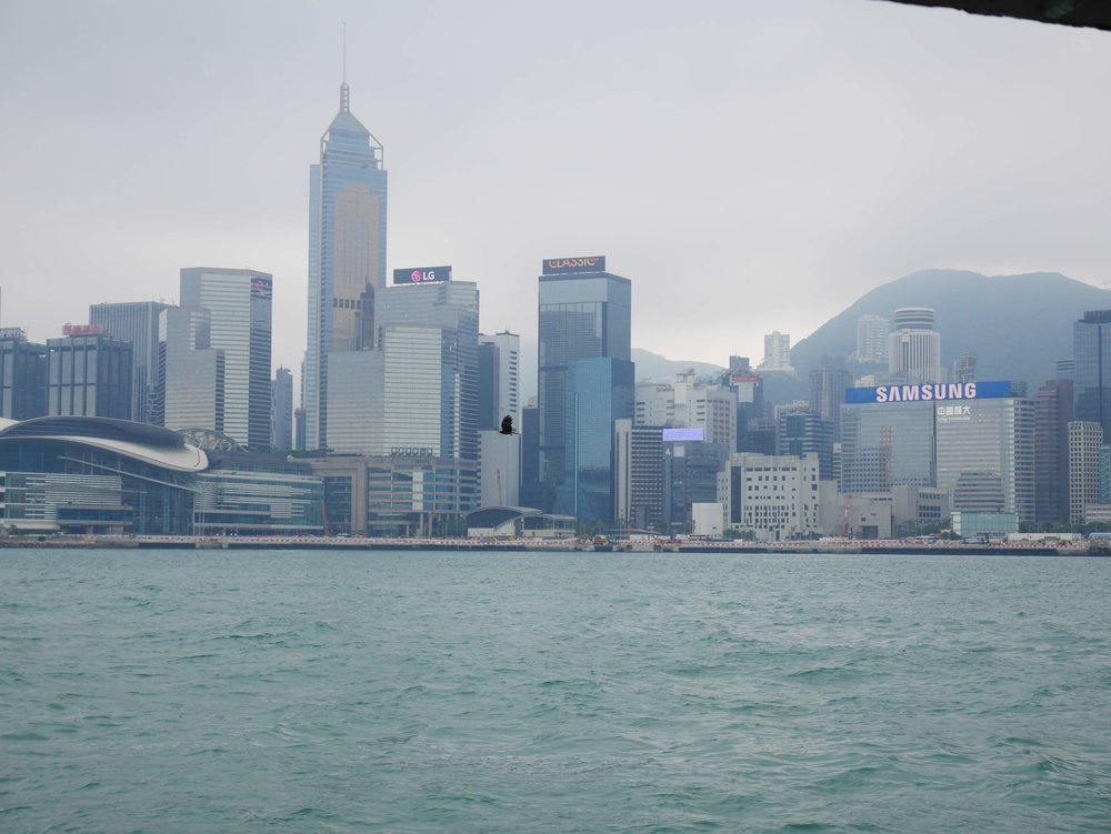 A view of downtown Hong Kong and Victoria Harbour from onboard the Star Ferry.