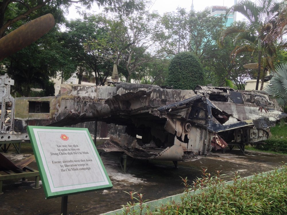 the wreckage of American aircraft at the Ho Chi Minh City Museum