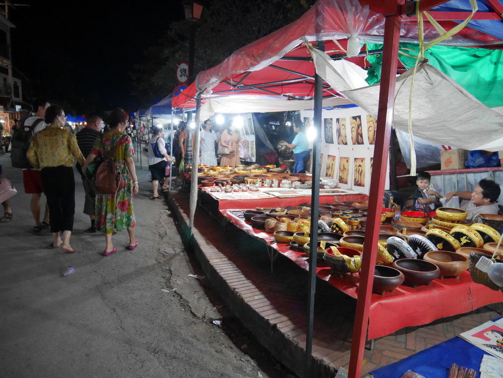 shopping at the Night Market in Luang Prabang, Laos