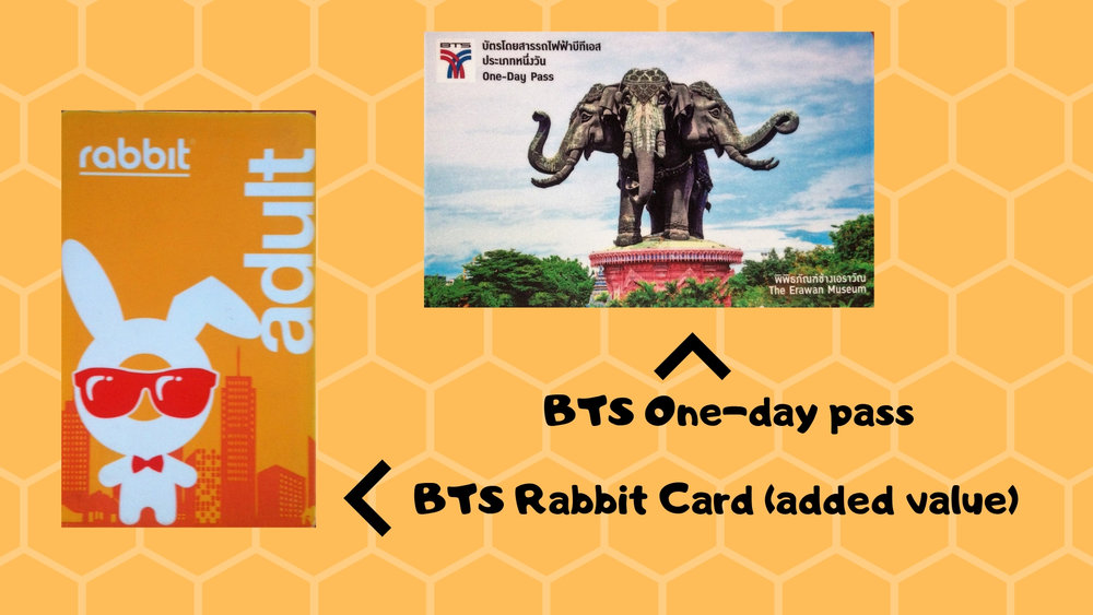 Examples of various types of BTS Skytrain cards - Rabbit Card and One-Day Pass