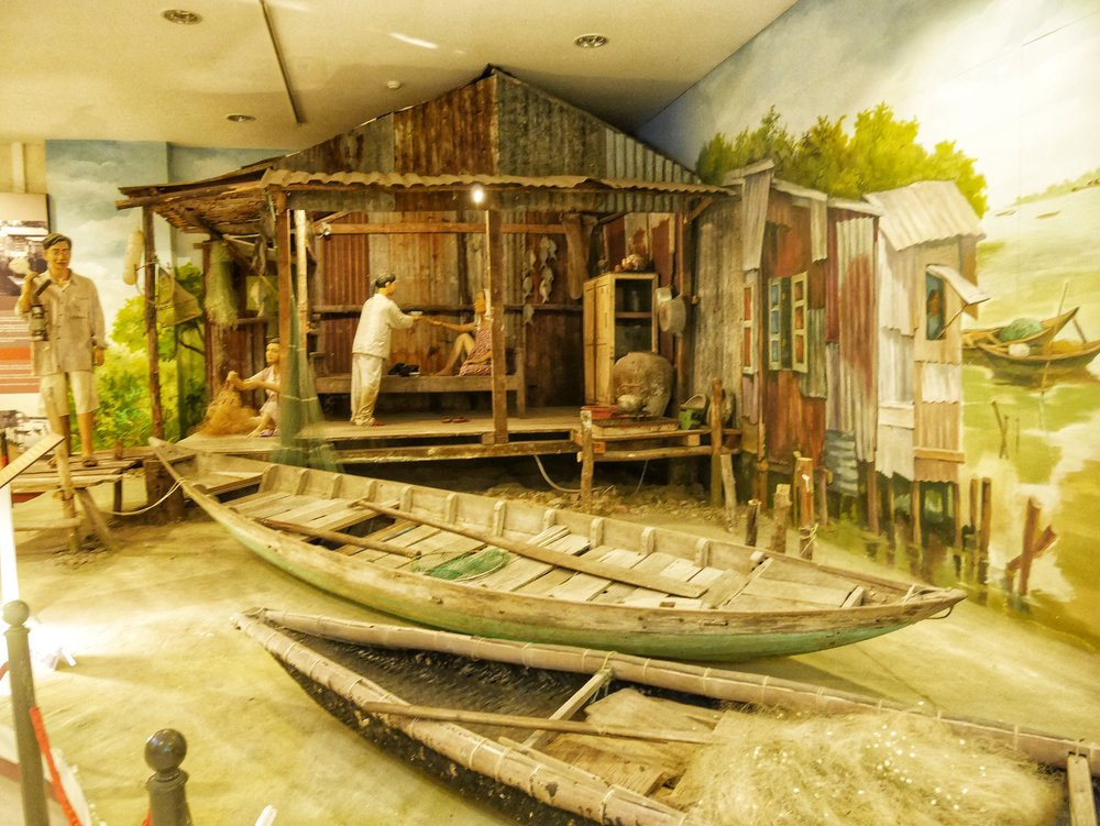 exhibits about local life along the sea in Da Nang, Vietnam