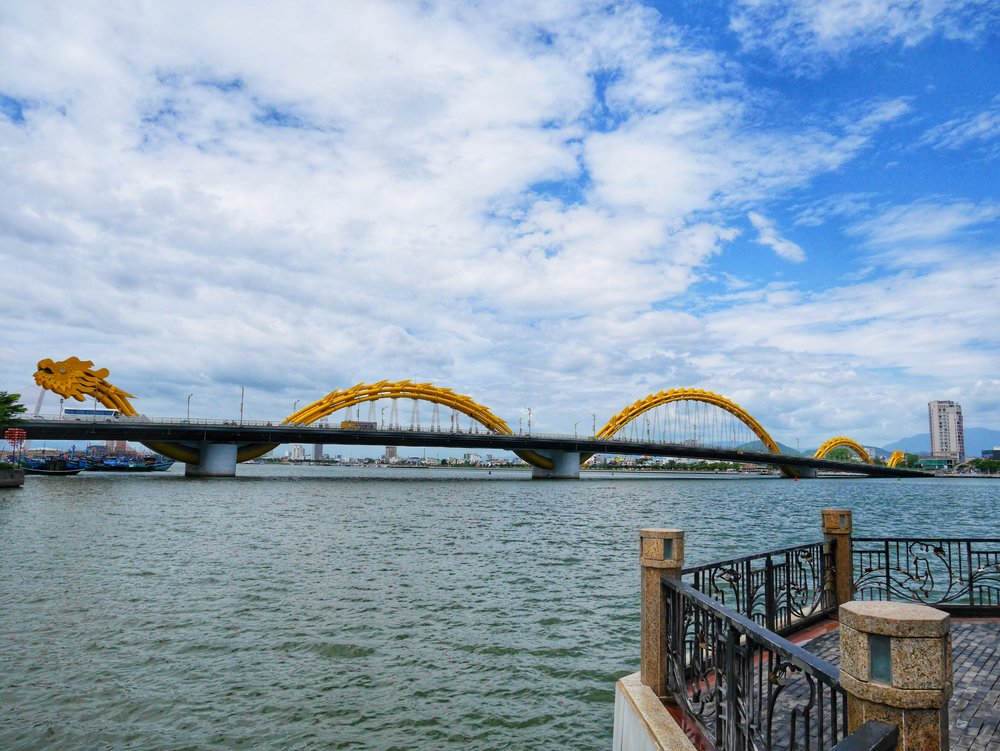 """Da Nang's famous """"Dragon Bridge"""" shoots fire out of its mouth in a nightly display."""