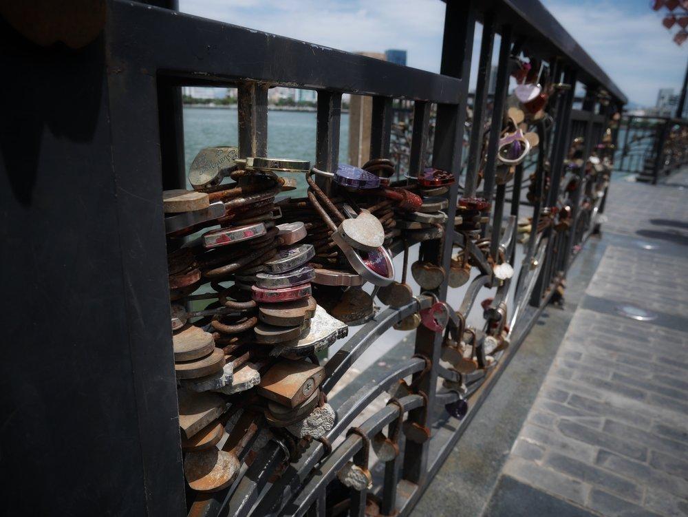 locks on the bridge to signify eternal love