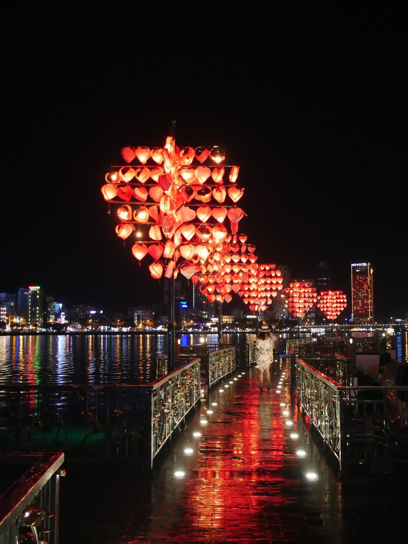 Vietnam Love Lock Bridge at night