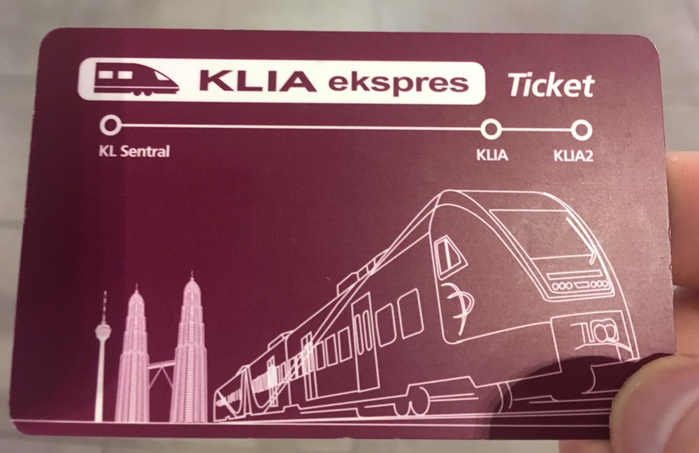 KLIA Ekspress ticket card - 55 MYR (one way); 100 MYR (round trip)