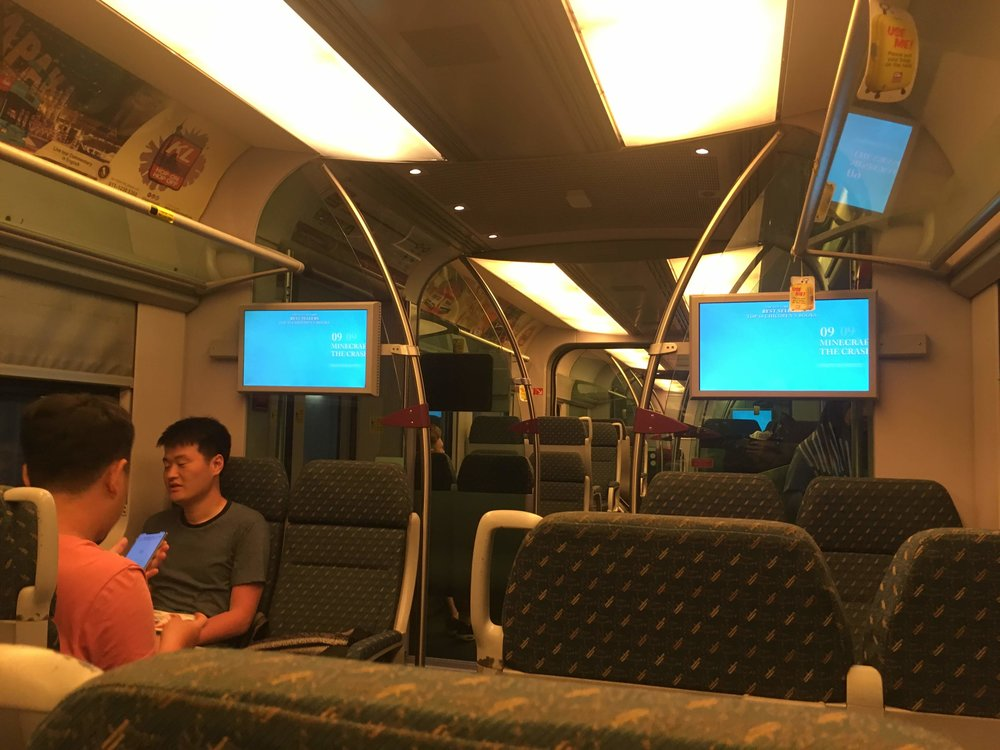 onboard the KLIA Ekspress train - comfortable seating and free wifi!