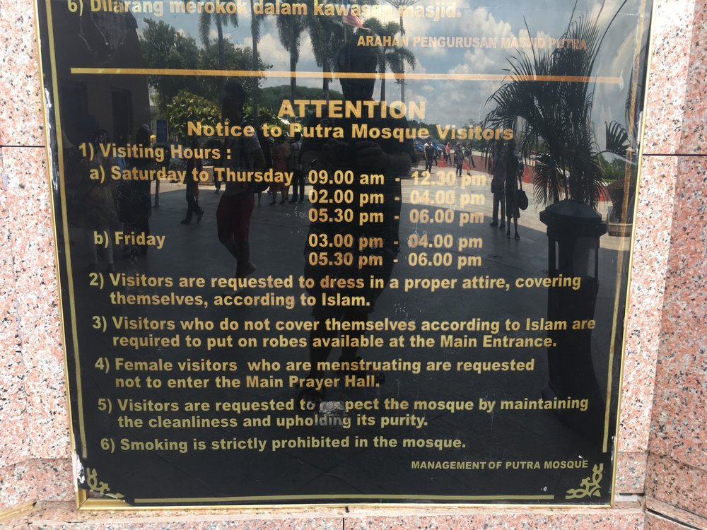 visiting hours, rules, and regulations for visiting the Pink Mosque, Putrajaya, Malaysia