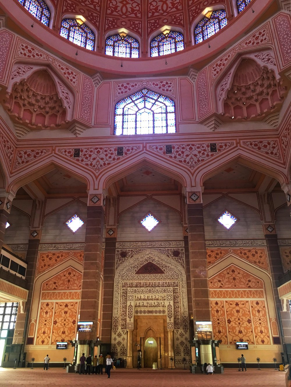 the interior of the Pink Mosque in Putrajaya
