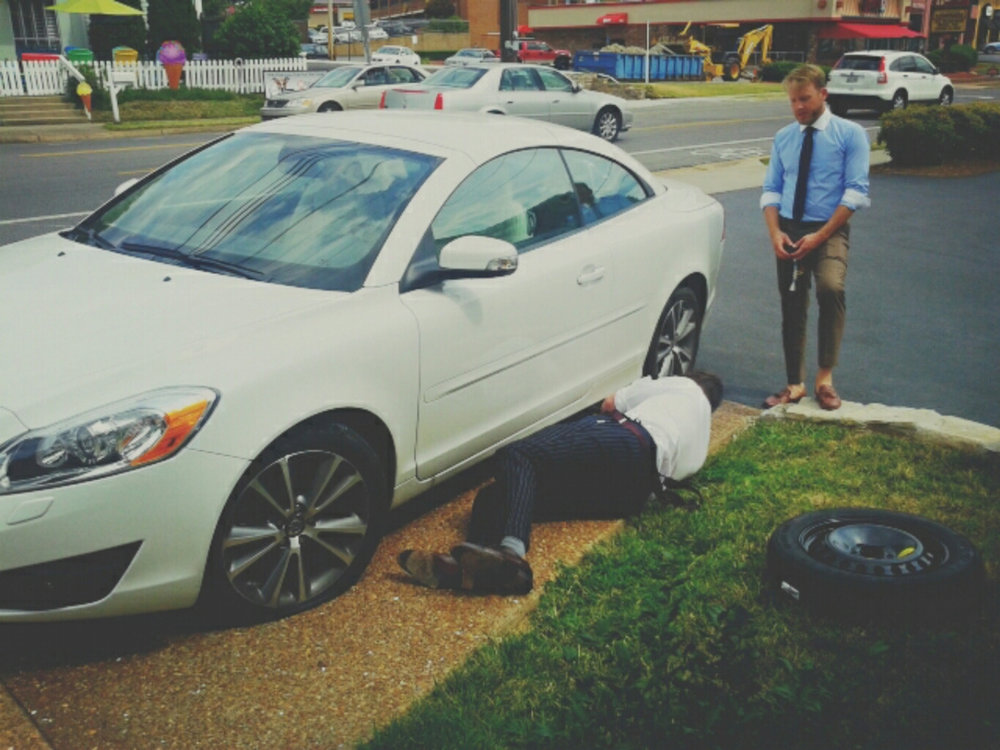 Fun fact: Herndon is a mechanic, Casey has skills in other areas…
