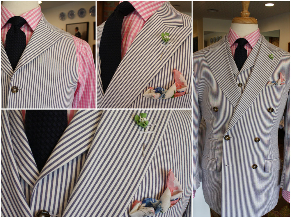 Nothing says classic southern summer style like seersucker.  This Loring & Co. version features double a breasted front, peak lapels, side vents, surgeons cuffs, premium horn buttons, and full canvas details. We've added a 6 button vest with full collar to enhance the look. A vest is the new essential when ordering a custom suit, it adds a dimention to your look and also gives versatility. The coat can be worn separately with a navy, khaki, pink, yellow, or red chino. The pants can be paired with a navy blazer or pastel sport coat. Wear the vest with jeans, khakis, or any summer linen pant. To complete this look we've added the navy silk tie from our Otis James collection, a Loring & Co. vintage pocket square and a handmade boutonniere. The only thing missing is a mint julep! We have those too!