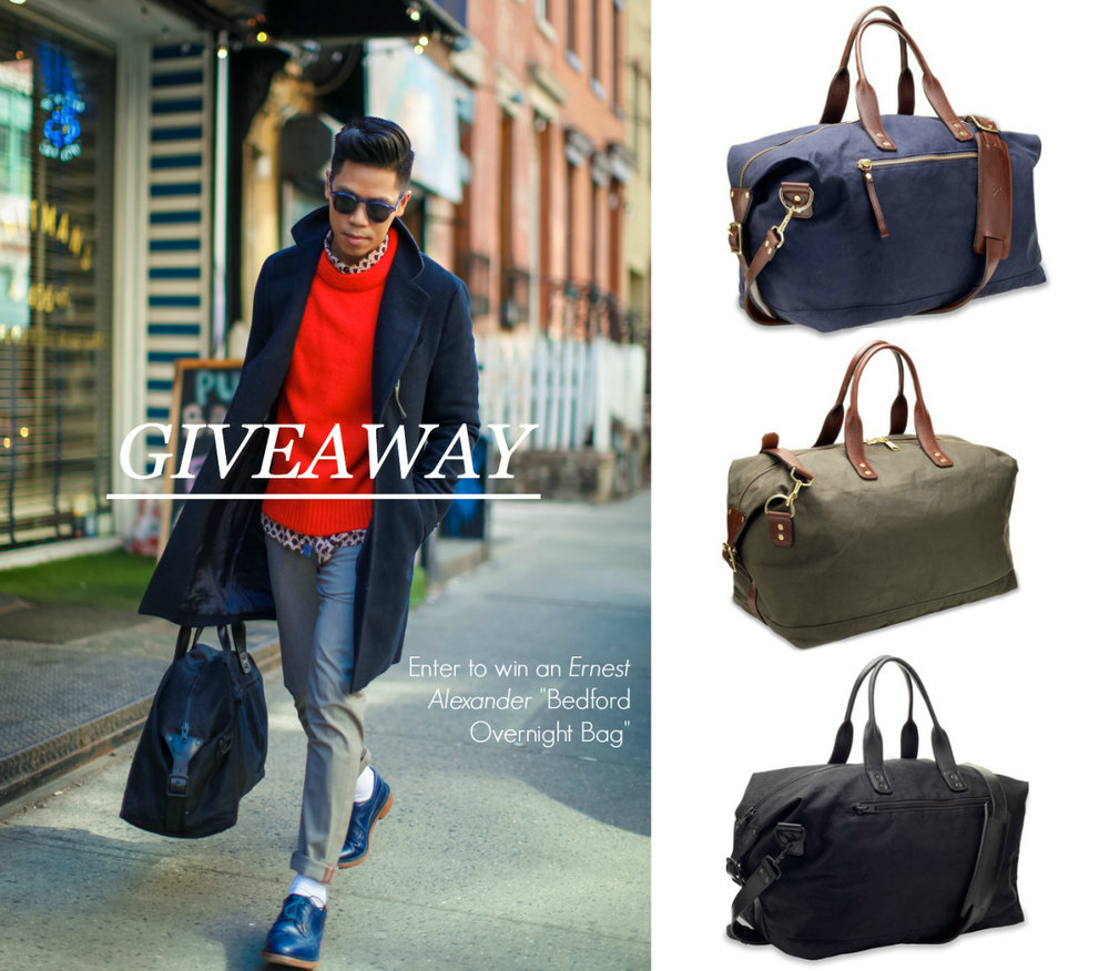 Check out the giveaway presented by one the blogs we watch daily!     closetfreaksblog :      GIVEAWAY: Ernest Alexander Bedford Overnight Bag       Enter To Win This Bag In Your Color Choice      I've teamed up with the kind folks at Ernest Alexander to give away one of their new  Bedford Overnight Bags  ($395 Value). Made out of a water-resistant cotton canvas with leather handles and brass hardware, it's sturdy and stylish enough for even the most adventurous travel plans.  Going on a weekend getaway? This bag is just the right size to hold all your essentials with ample room in the main compartment and additional exterior and interior pockets to keep smaller items organized and accessible. Follow the instructions below for your chance to win this bag in your color choice of Navy, Olive, or Black.    Use the widget below to enter. Open to residents of the contiguous US, 13 years of age and up only. The winner will be announced next Tuesday so good luck!     a Rafflecopter giveaway        FACEBOOK  |  TWITTER  |  BLOGLOVIN  |  PINTE  REST  |  INSTAGRAM